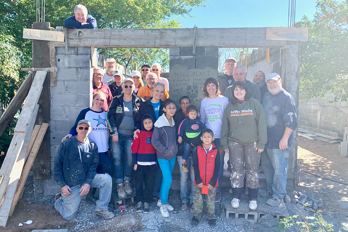 A team from Indiana with the family they helped build a home for in Reynosa Mexico