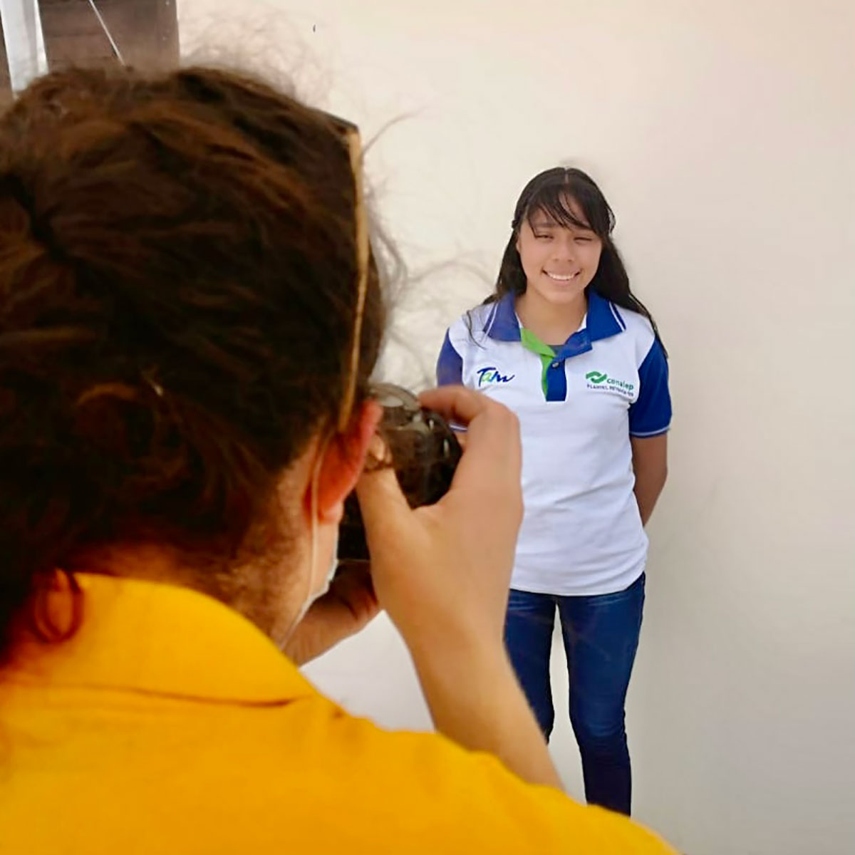 Taking photos of our scholarship students in Reynosa Mexico