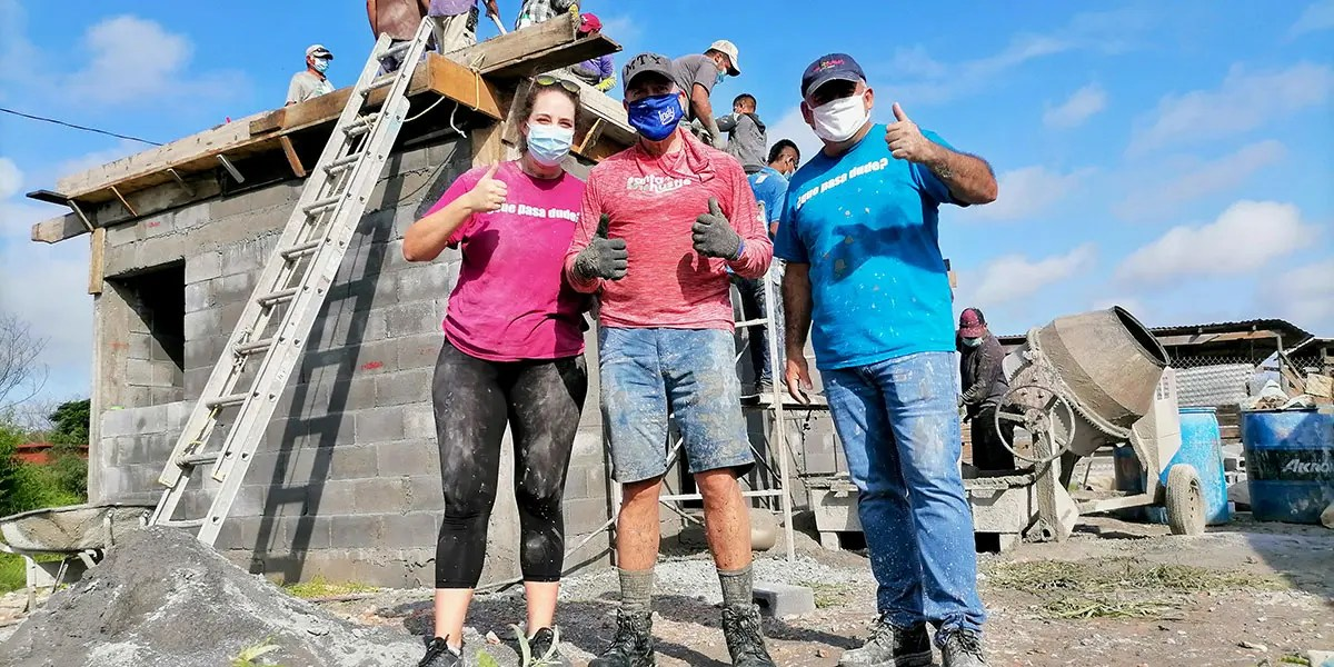 Our Board member Tom with Colleen and David at the roof pour for Casa 3 in Reynosa Mexico