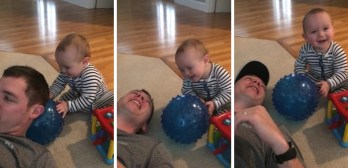 Baby pranks dad