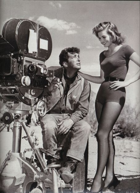 Dean Martin & Angie Dickinson on the set of Rio Bravo, 1959.