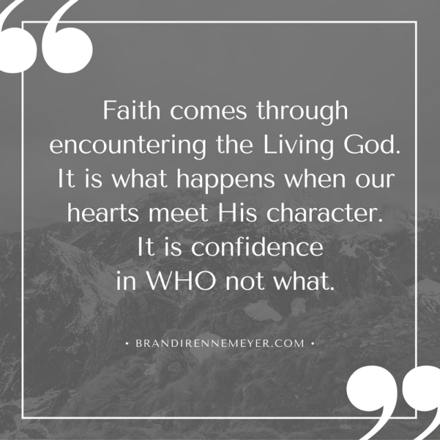 Faith comes through encountering the Living God. It is what happens when our hearts meet His character. Faith is a confidence in WHO not what.