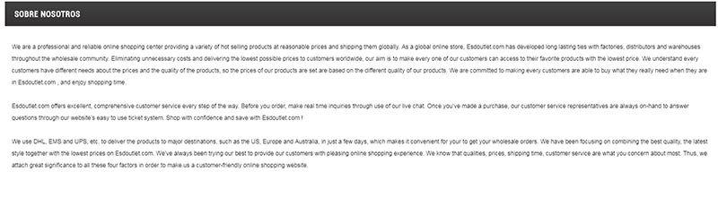 Esdoutlet.com Fake Shop Scam Outlet