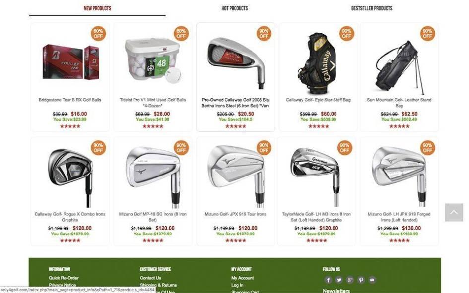 captura de productos - only4golf.com tienda online falsa