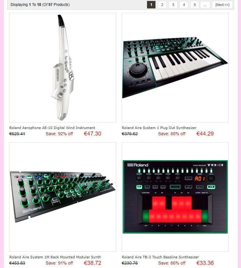 Museb.xyz Tienda Falsa Baterias Guitarras Sintetizadores