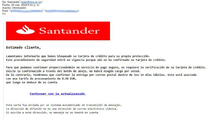 New Phishing Email From Banco Santander