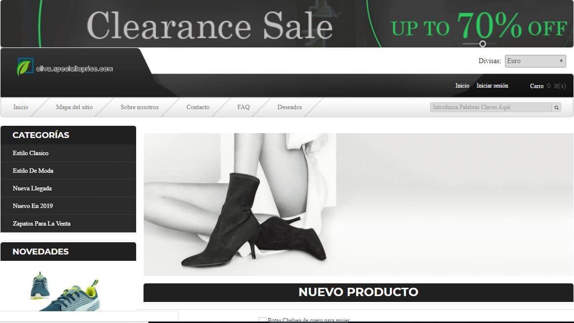 Oliva.specialtoprice.com Tienda Falsa Online Calzado