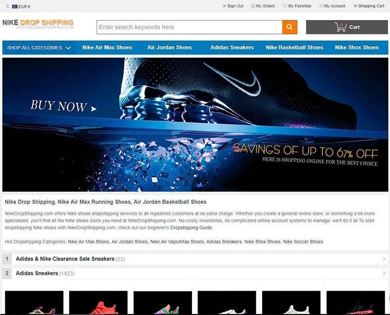 Nikedropshipping.com Tienda Falsa Online Nike