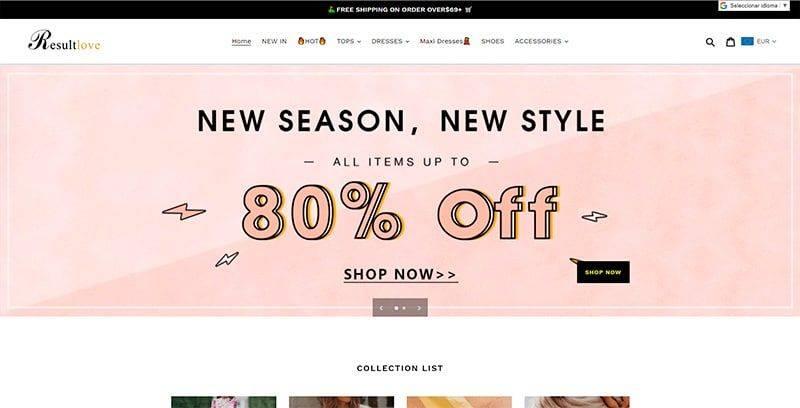 resultlove.com fake online fashion shop woman