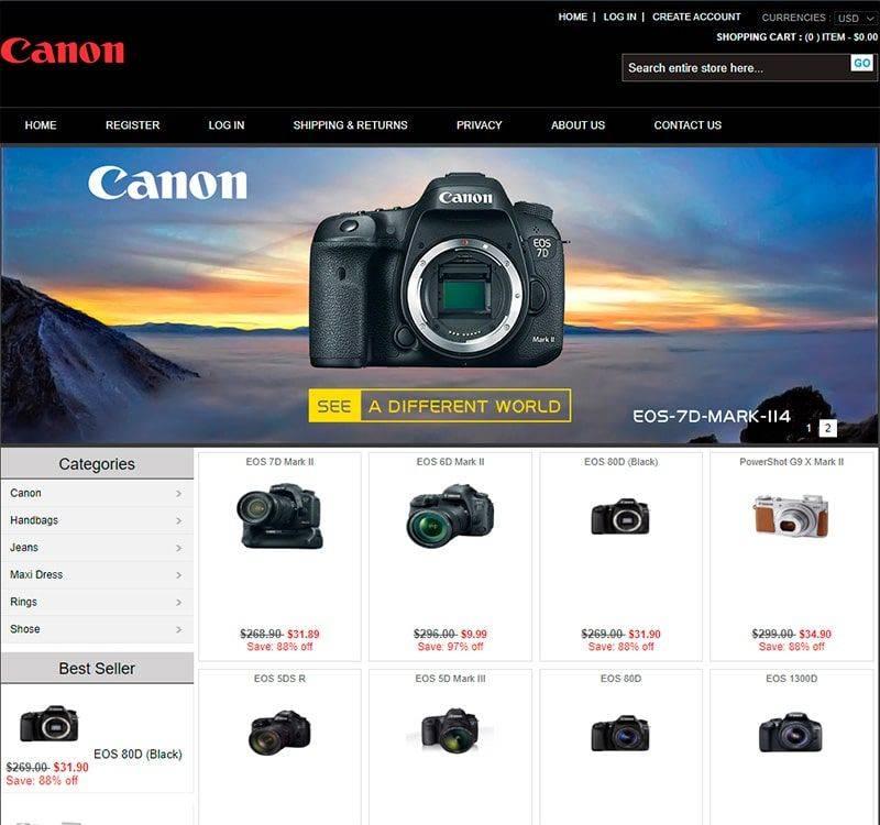 Hcanooncheap.store Tienda Falsa Online Canon