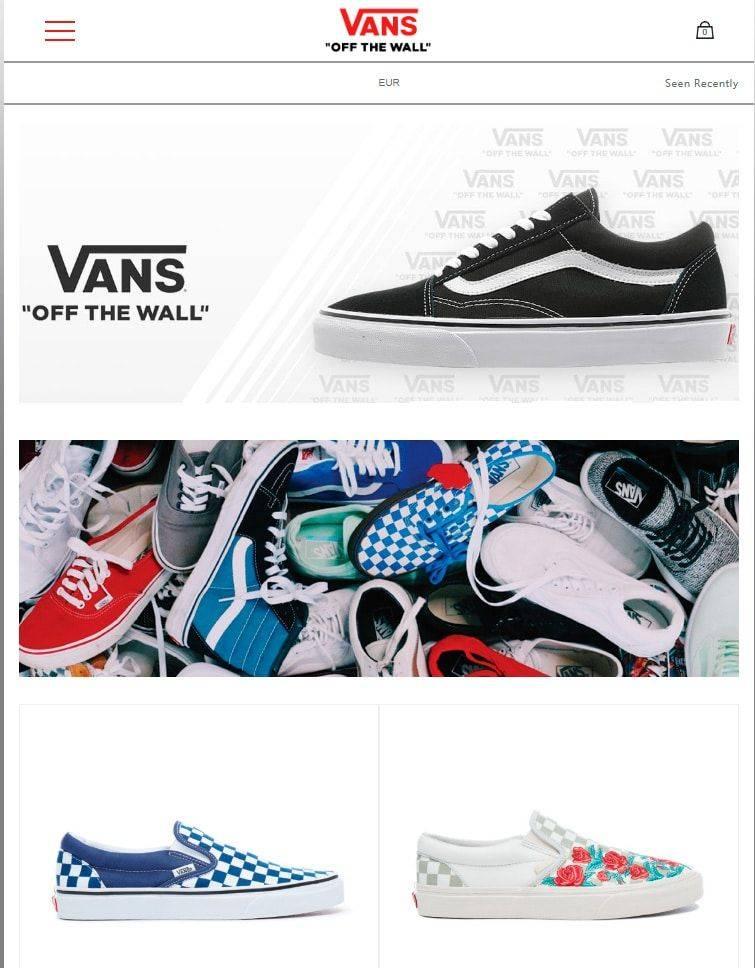 vans shop on line