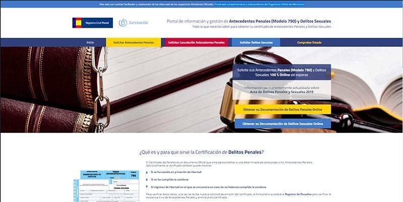 registrocivilpenal.com web para tramitar tus antedecentes penales