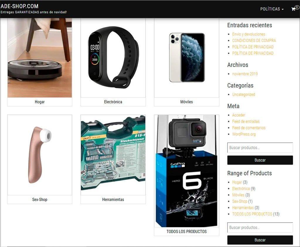 Ade Shop.com Tienda Online Falsa Gadgets