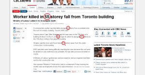 Worker killed in 55 storey fall from Toronto building   Toronto   CBC News