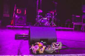 Shoes and flowers left onstage at Trinity Centre wedding