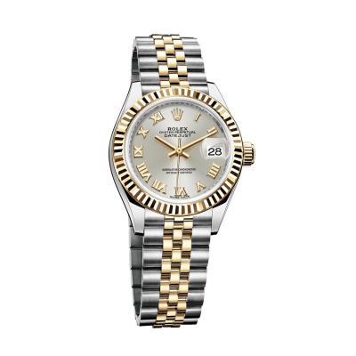 ساعة أويستر بربتشوال ليدي ديت جست المصنوعة من فولاذ أويستر ستيل والذهب الأصفر بقطر 28مم