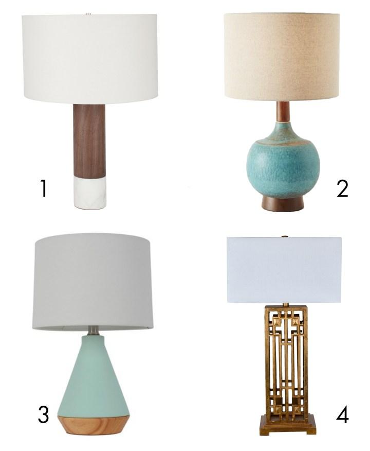 4 mid-century modern lamps