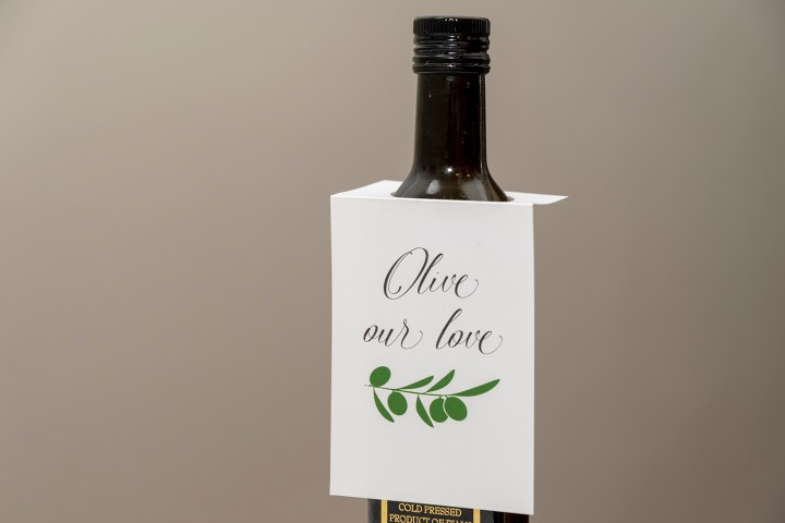 'Olive Our Love' Tags for Olive Oil Bottles, Including Free Printable