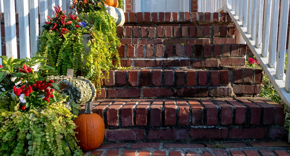 Fall planters on brick steps