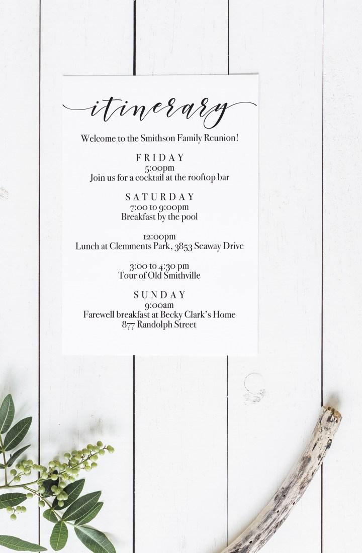 Printable Itinerary