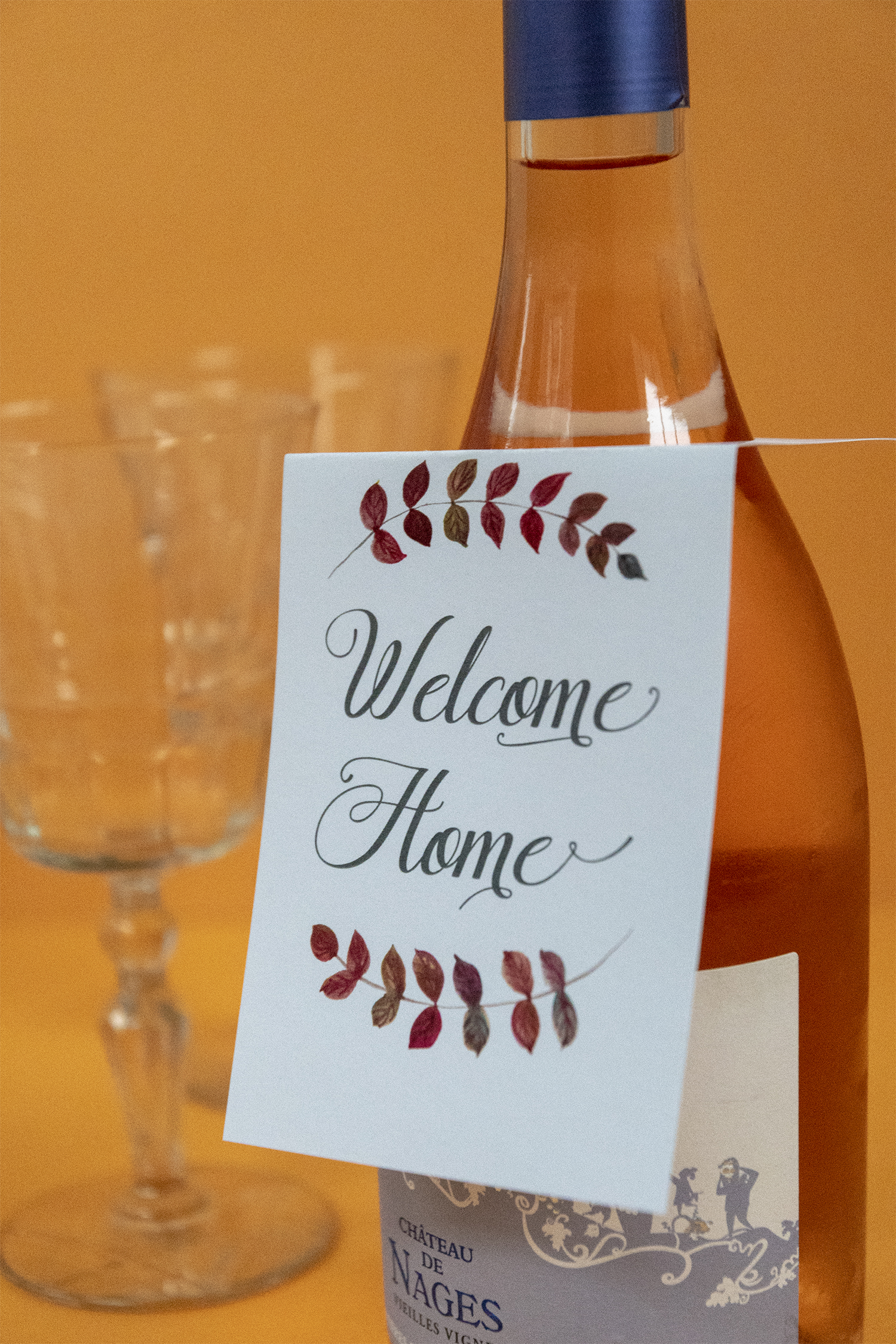 photo relating to Printable Wine Glass Tags identified as Welcome Residence Wine Bottle Present Tag Totally free Printable Down load