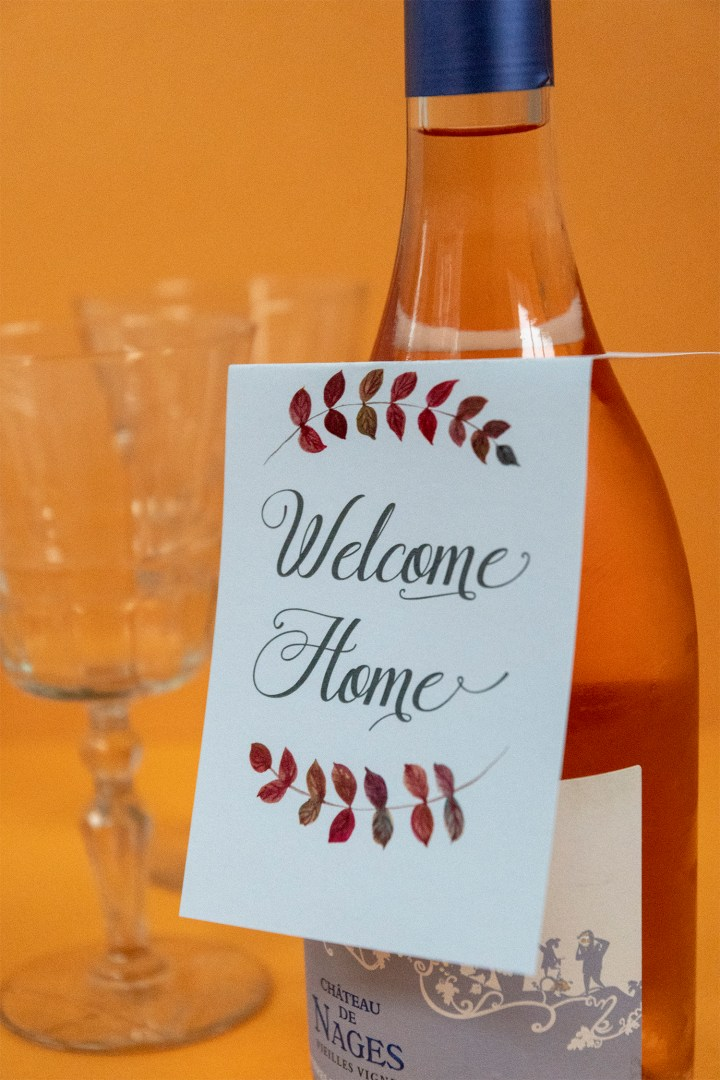 Welcome Home Wine Bottle Gift Tag | Free Printable Download
