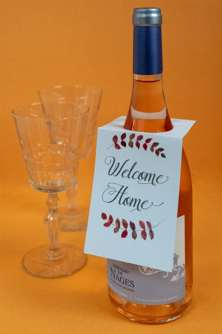 Welcome Home Wine Bottle Gift Tag for Housewarming Gift