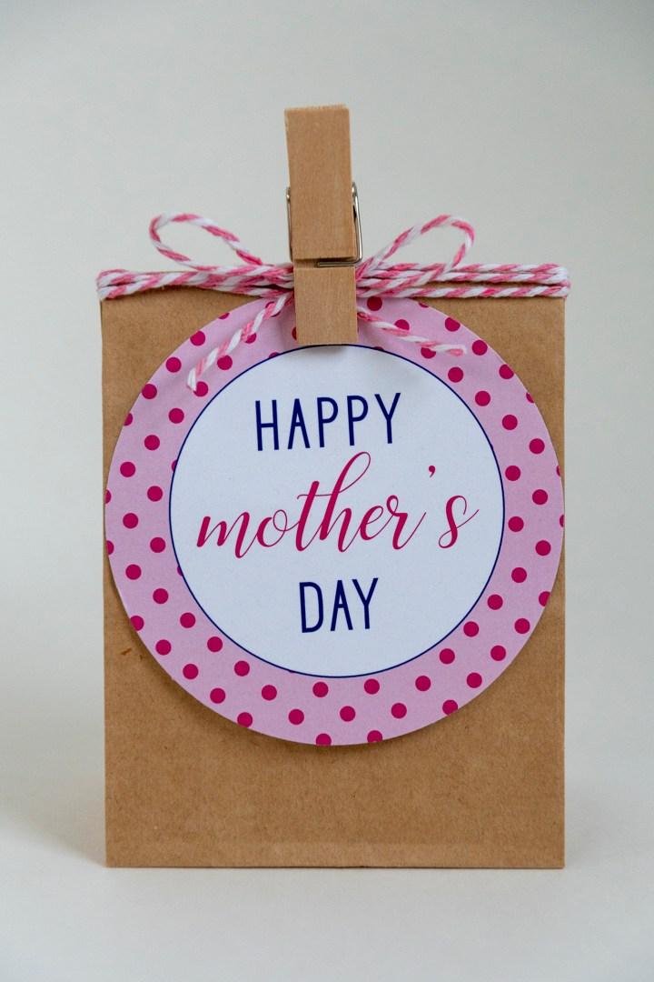 Printable Pink Polka Dot Mother's Day Gift Tags