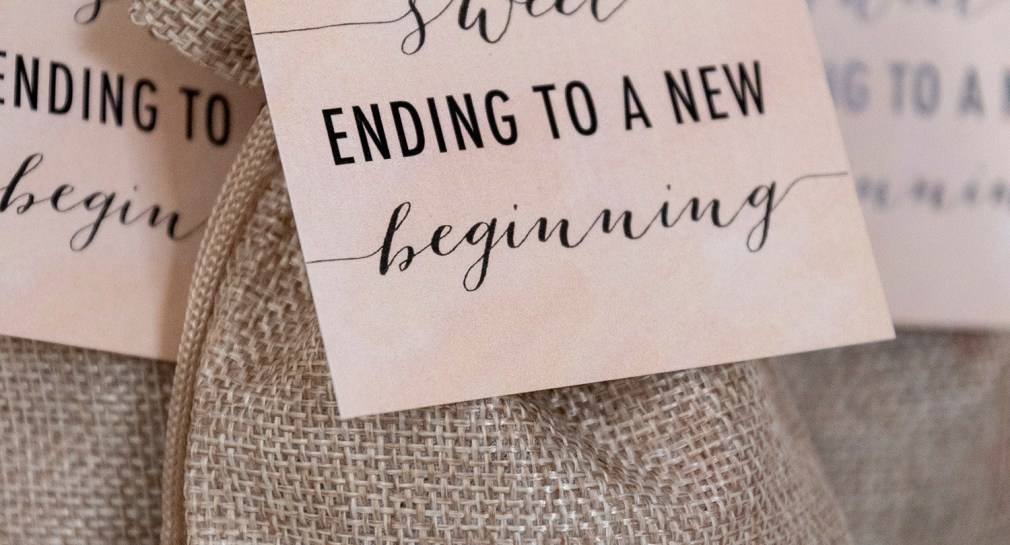 A Sweet Ending to a New Beginning Gift Tags for Wedding Favors