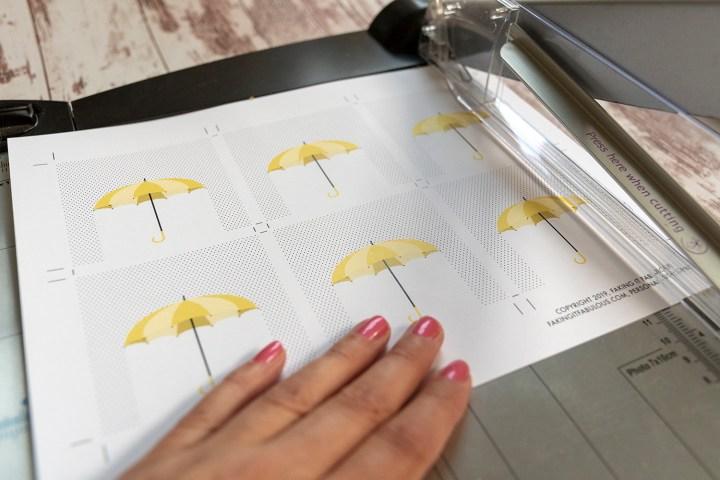 Free Printable Yellow Umbrella Bridal Shower Tags