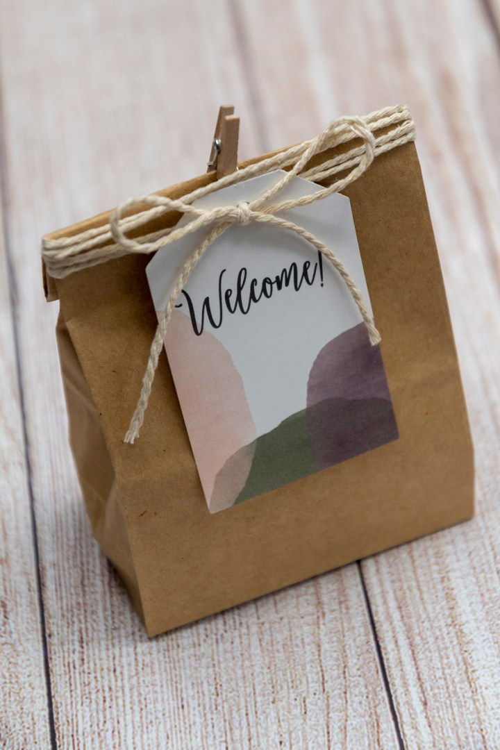Modern circles welcome bag tags