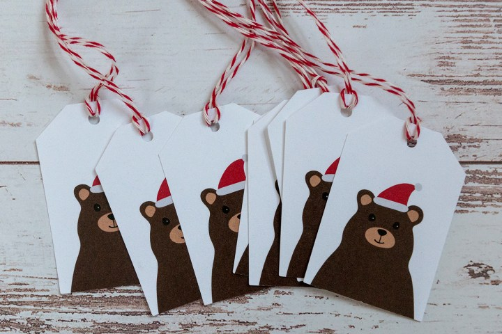 Free Printable Santa Hat Bear Gift Tags