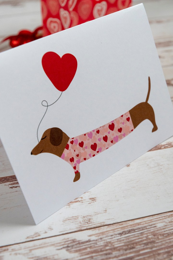 Free Printable Download Dachshund Dog Valentine
