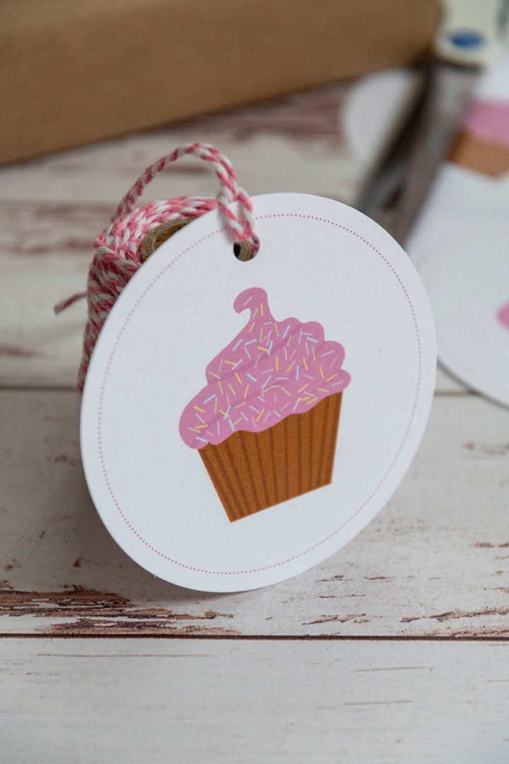 Pink Cupcake With Sprinkles Birthday Gift Tags
