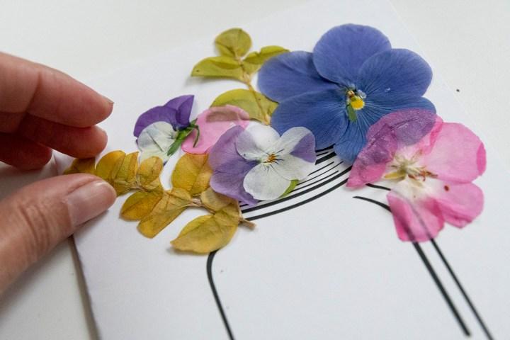 Pressed flowers in a mason jar card