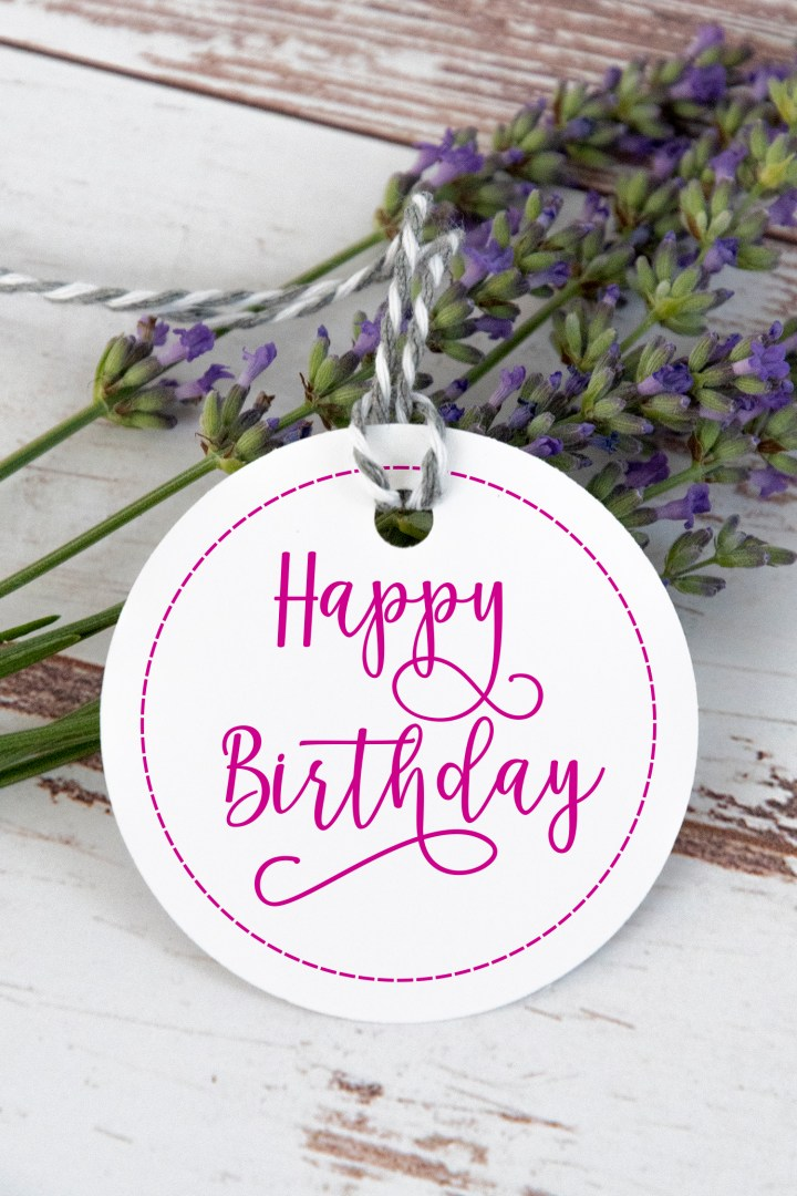 Hot Pink Happy Birthday Gift Tags