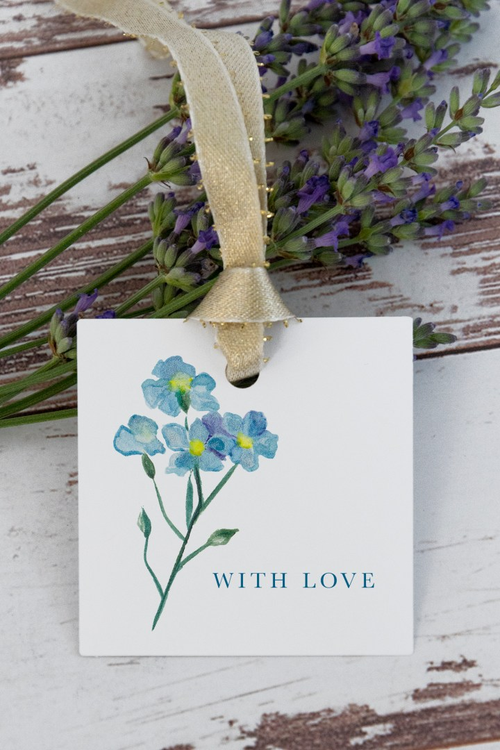 Blue Flower With Love Gift Tags