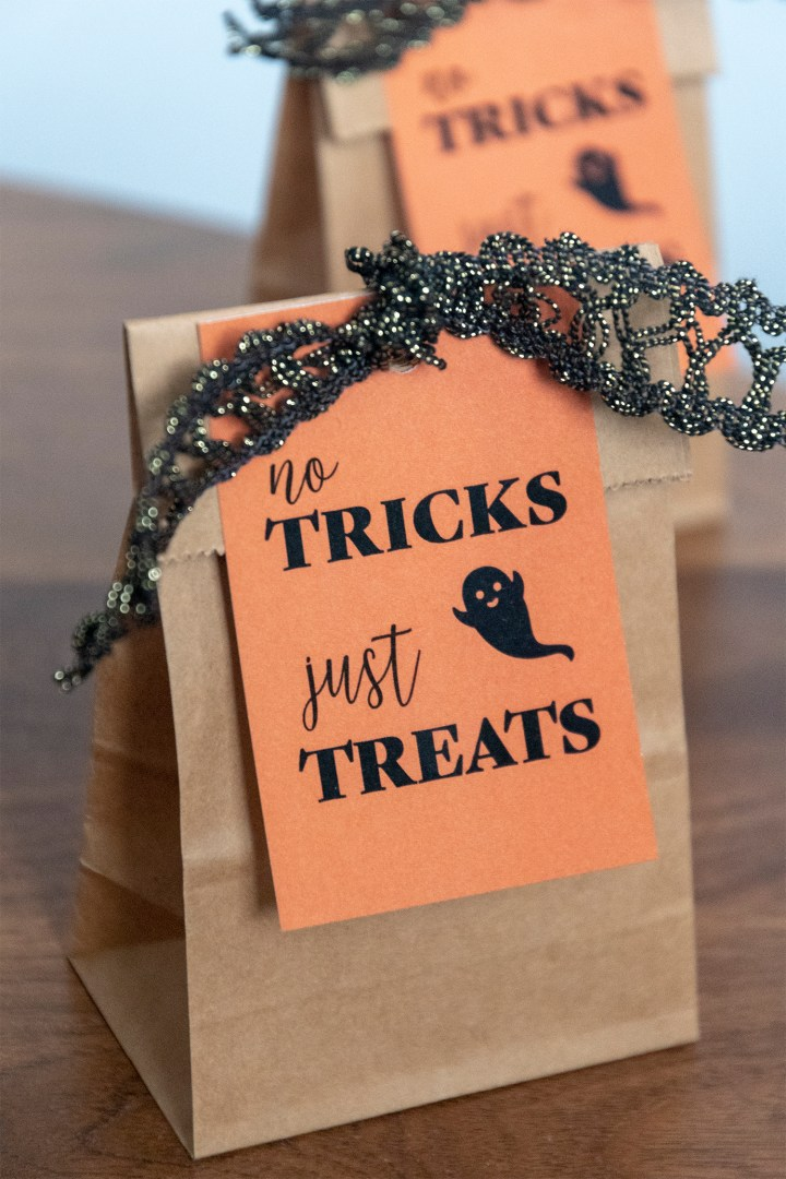 No Tricks Just Treats Printable Halloween Tags