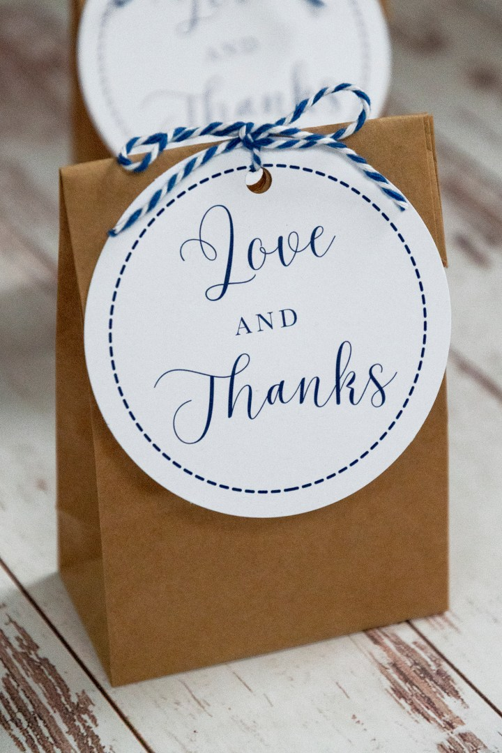 Love and Thanks Wedding Gift Tags