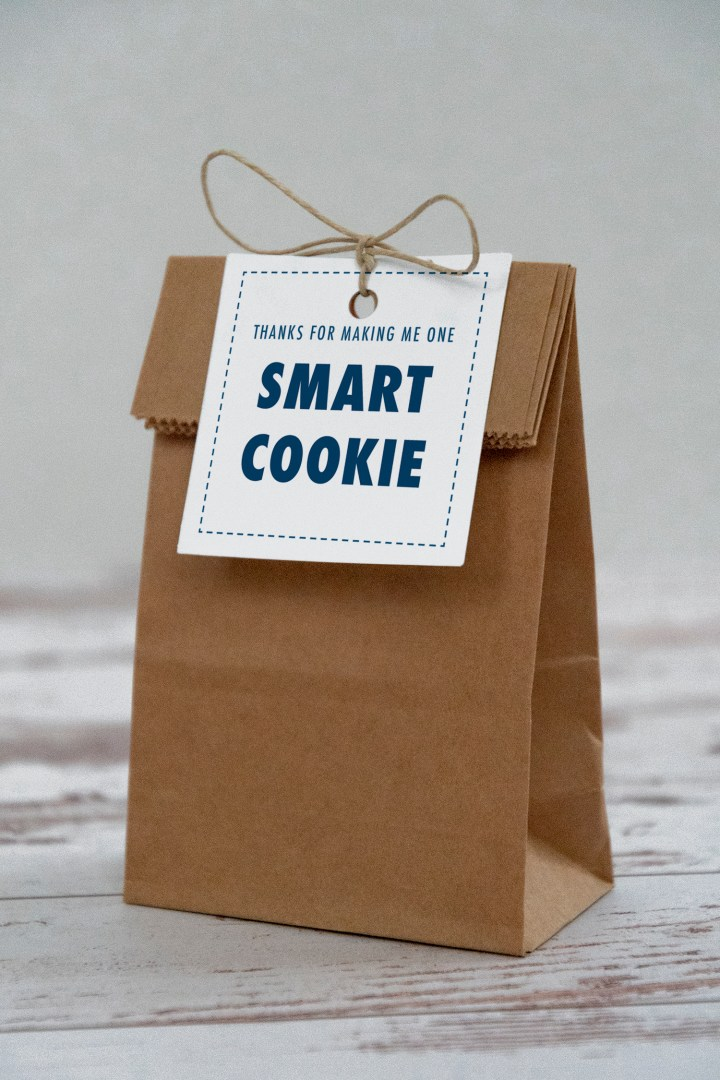 Navy Thanks for Making Me One Smart Cookie Gift Tags Free Printable