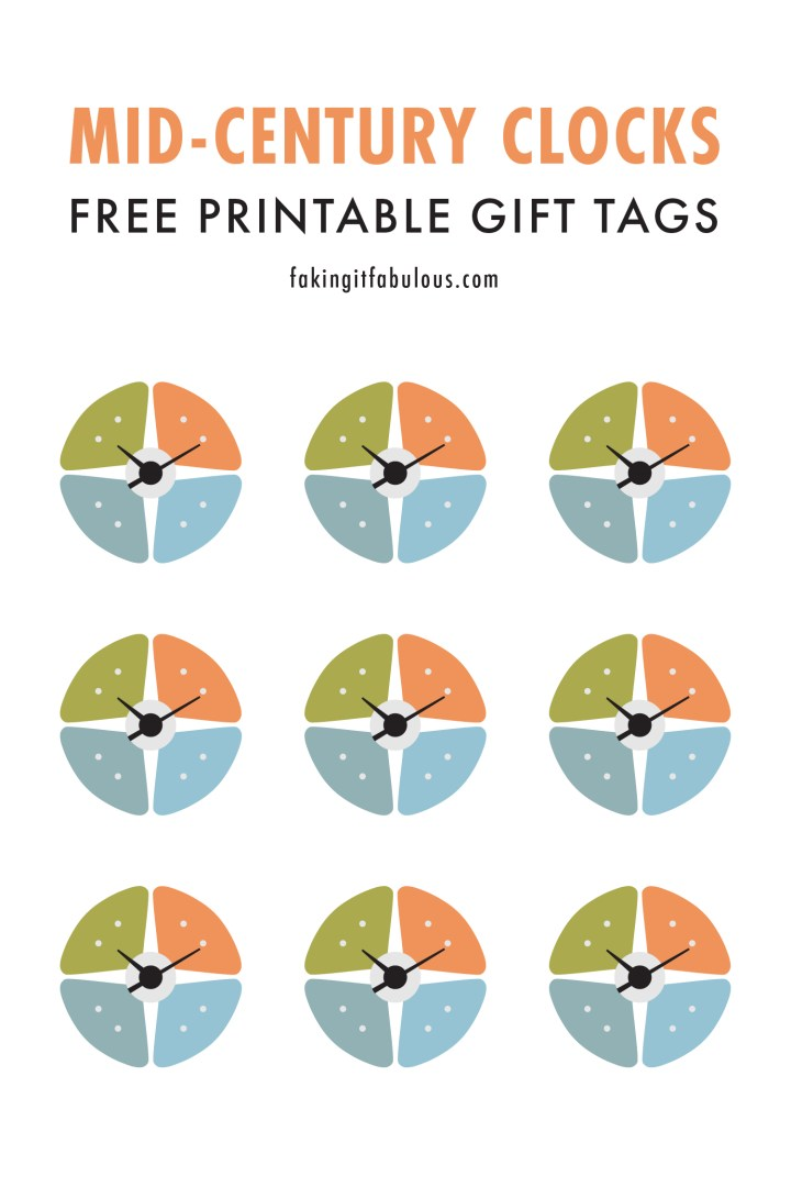Mid-Century Clock Printable Tags