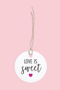 Fuschia Love is Sweet Gift Tag Free Printable