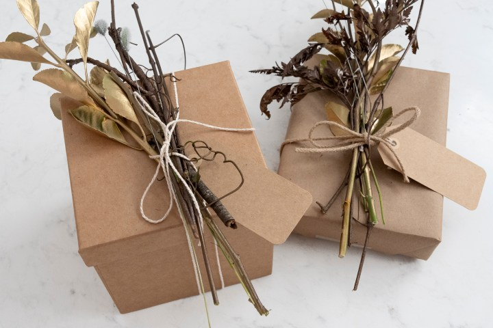 Fall Gift Wrapping With Metallic Natural Foliage