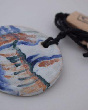 керамично колие, ръчно рисувано, авторски бижута