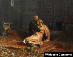 Деспотизм правлячої верхівки Росії викривали й прогресивні художники. Ілля Рєпін (Ріпин) «Іван Грозний і син його Іван 16 листопада 1581 року»