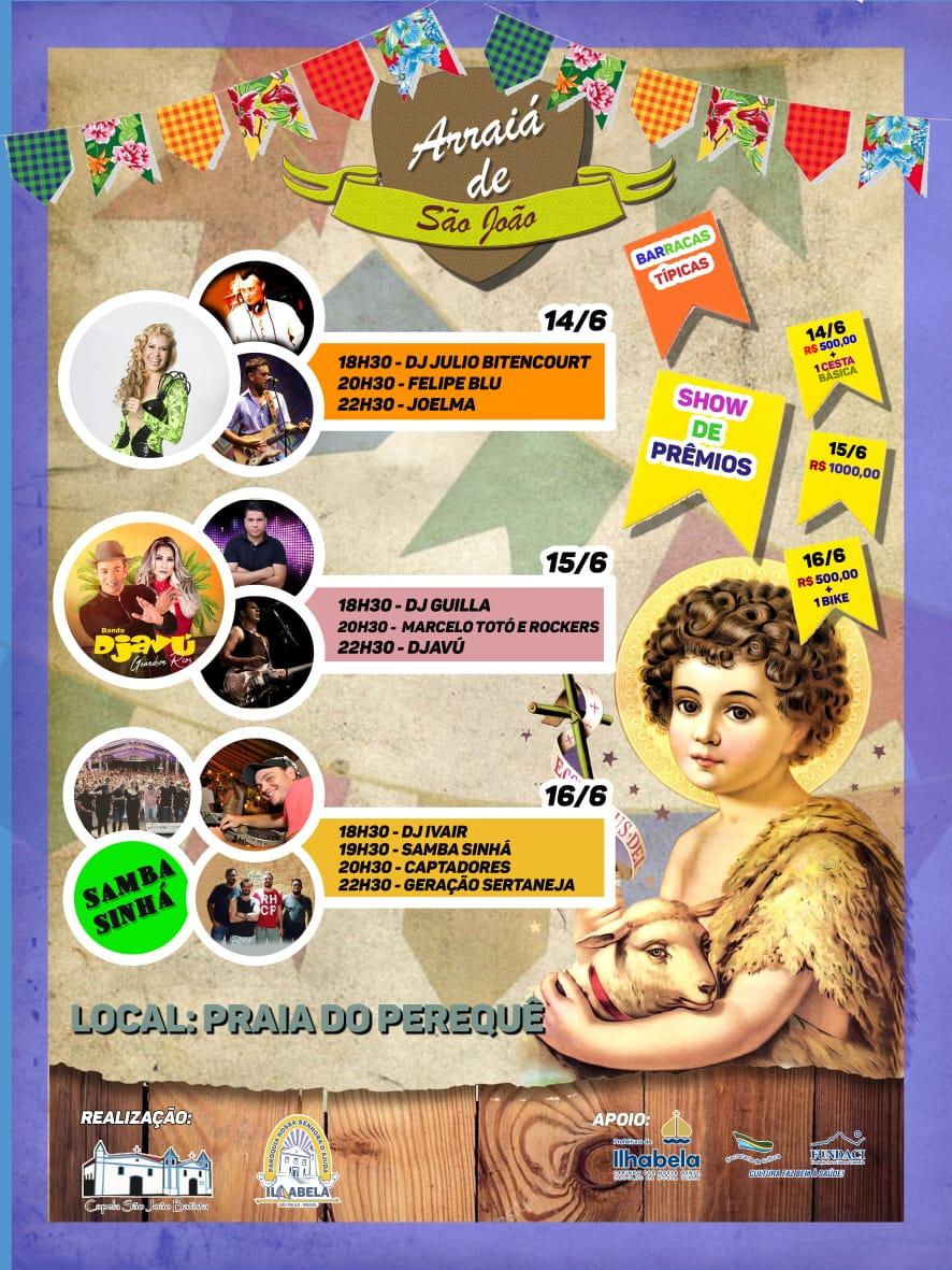 Ilhabela tradicional festa social de São João Batista começa nesta sexta-feira