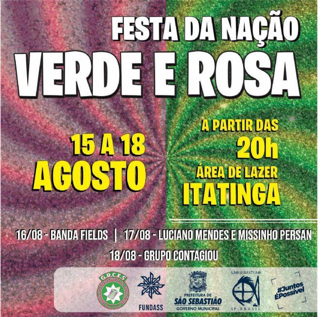 1ª Festa da Nação Verde e Rosa começa nesta quinta-feira no bairro Itatinga