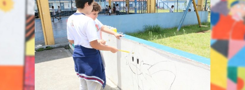 Escola da rede municipal de Caraguatatuba desenvolve projeto Arte no Muro