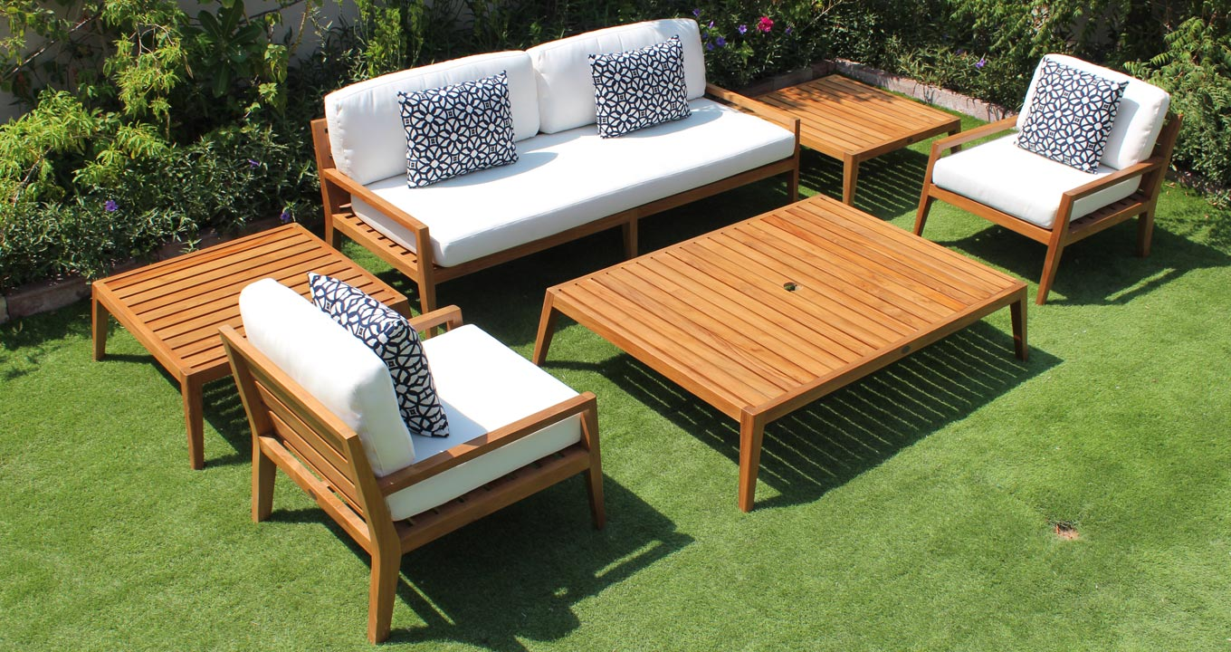 Solid Wood Outdoor Sofa With Armchairs
