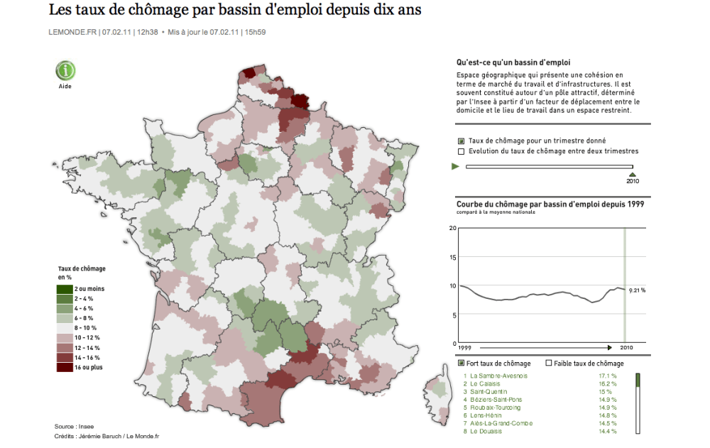 Le taux de chômage en France depuis 10 ans; paru dans LeMonde.fr (3/3)